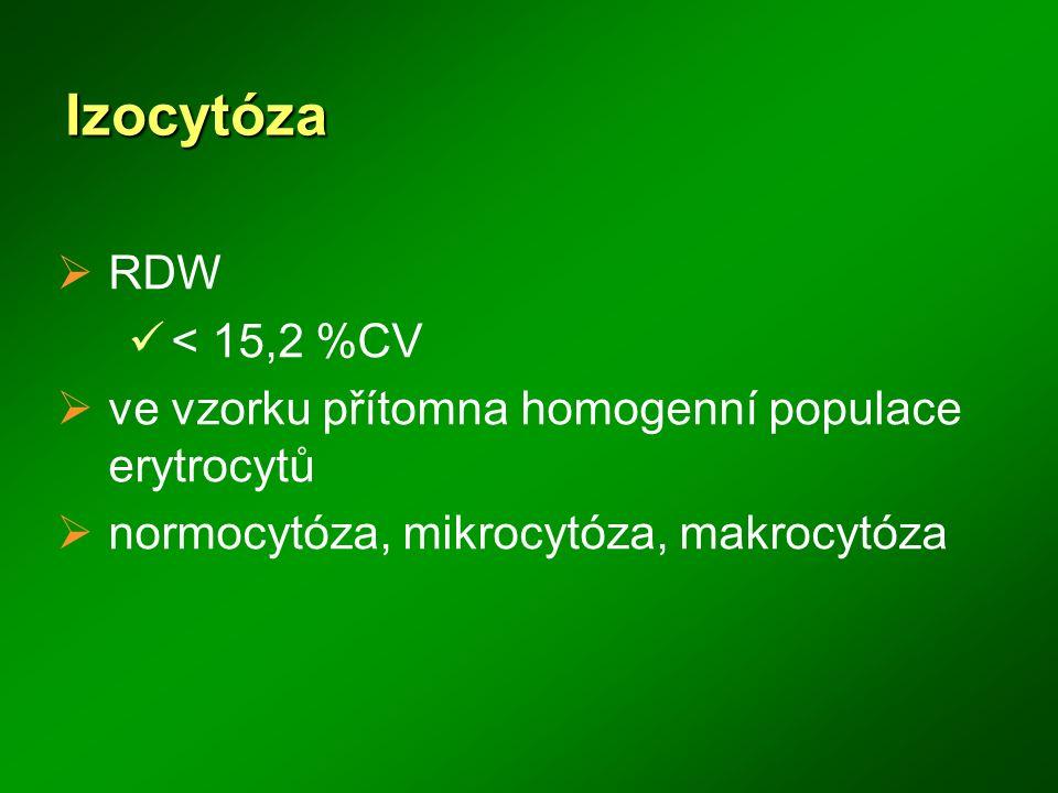 Izocytóza RDW. < 15,2 %CV. ve vzorku přítomna homogenní populace erytrocytů.