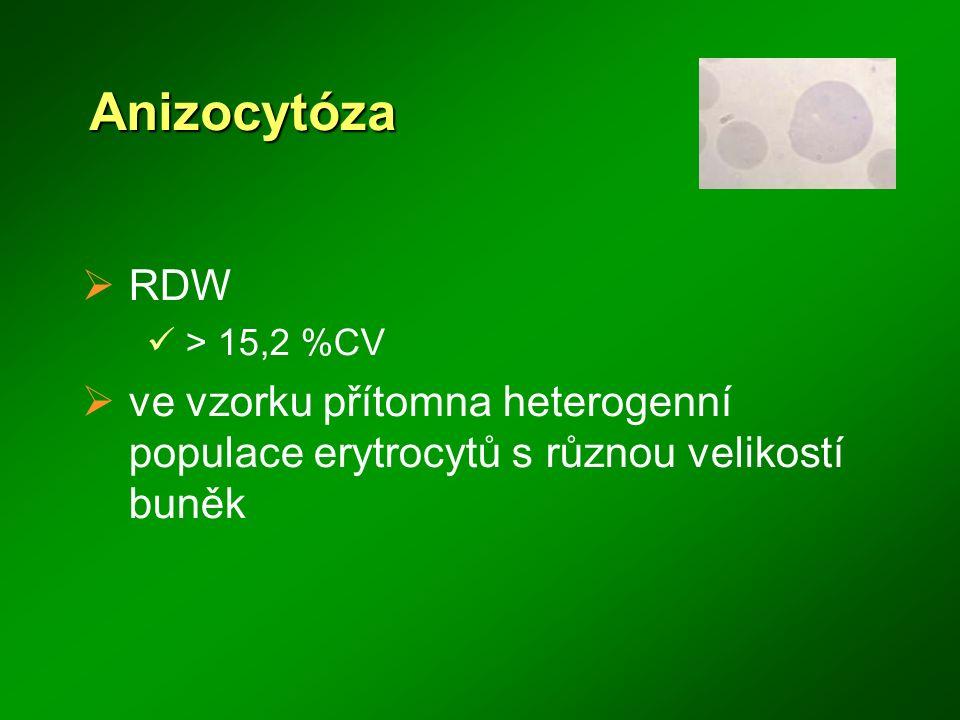 Anizocytóza RDW. > 15,2 %CV.