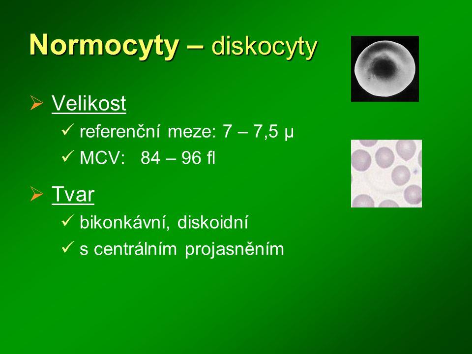 Normocyty – diskocyty Velikost Tvar referenční meze: 7 – 7,5 μ