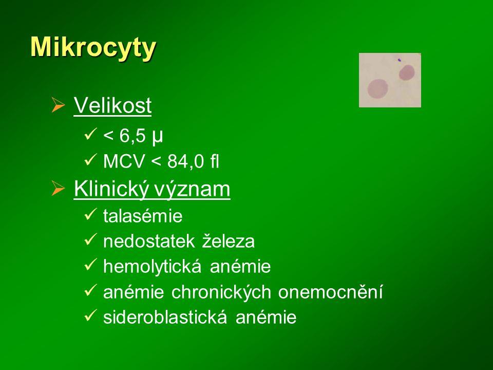 Mikrocyty Velikost Klinický význam < 6,5 μ MCV < 84,0 fl