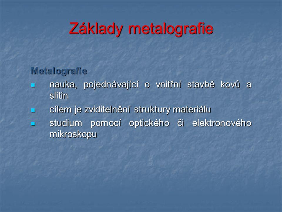 Základy metalografie Metalografie