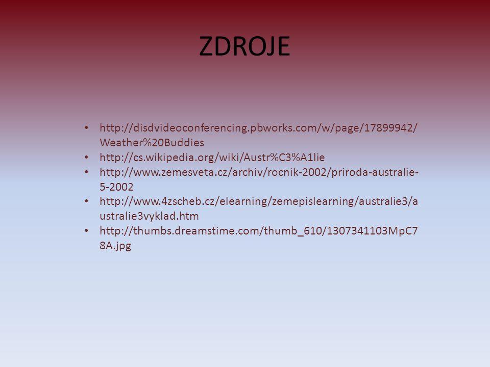 ZDROJE http://disdvideoconferencing.pbworks.com/w/page/17899942/Weather%20Buddies. http://cs.wikipedia.org/wiki/Austr%C3%A1lie.