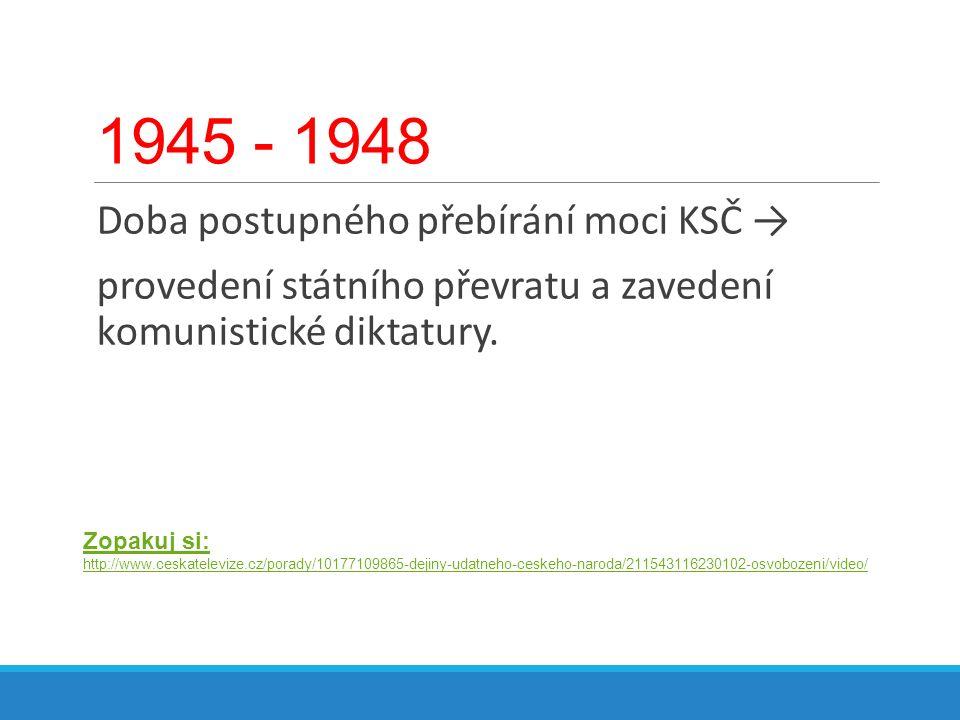 1945 - 1948 Doba postupného přebírání moci KSČ →