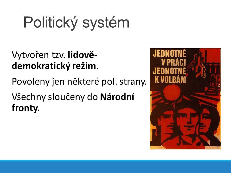 Politický systém Vytvořen tzv. lidově- demokratický režim.