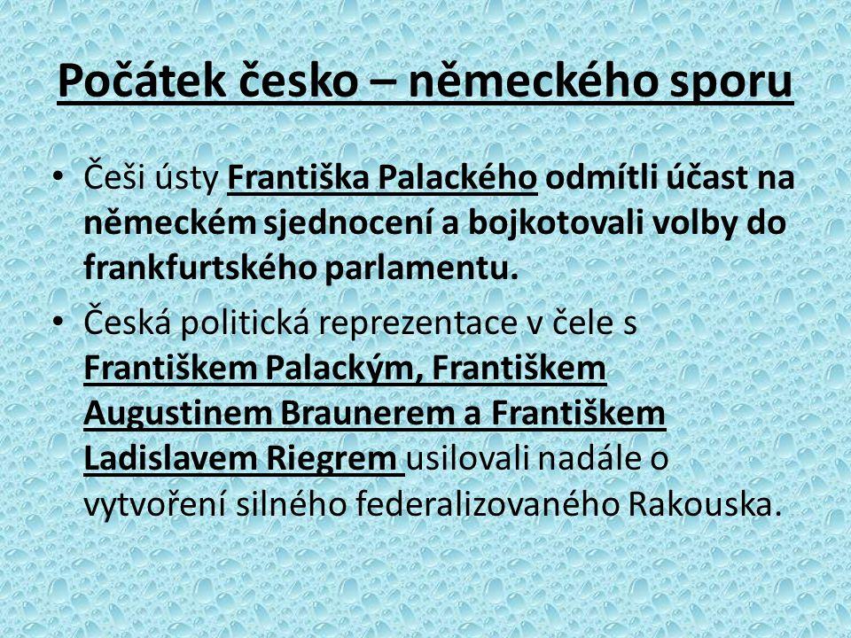 Počátek česko – německého sporu