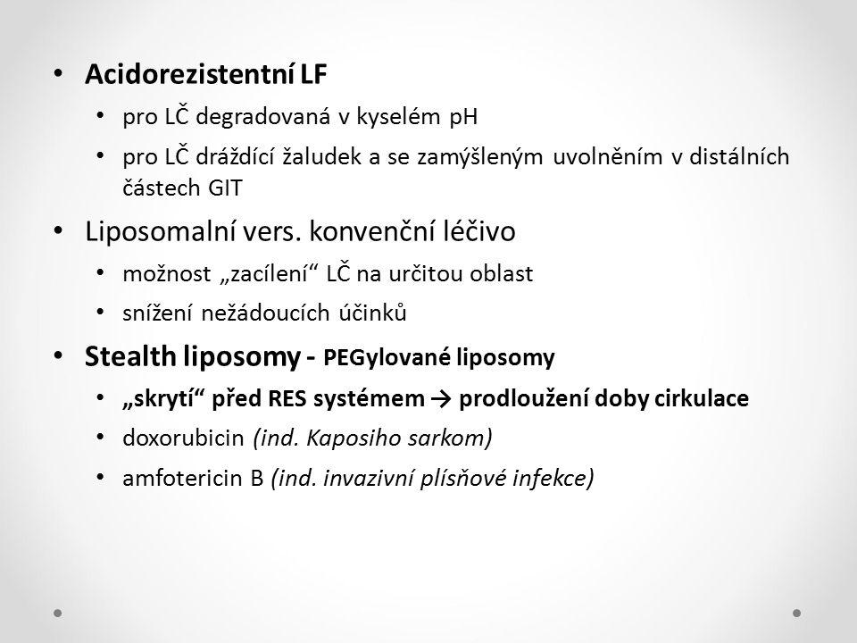 Liposomalní vers. konvenční léčivo