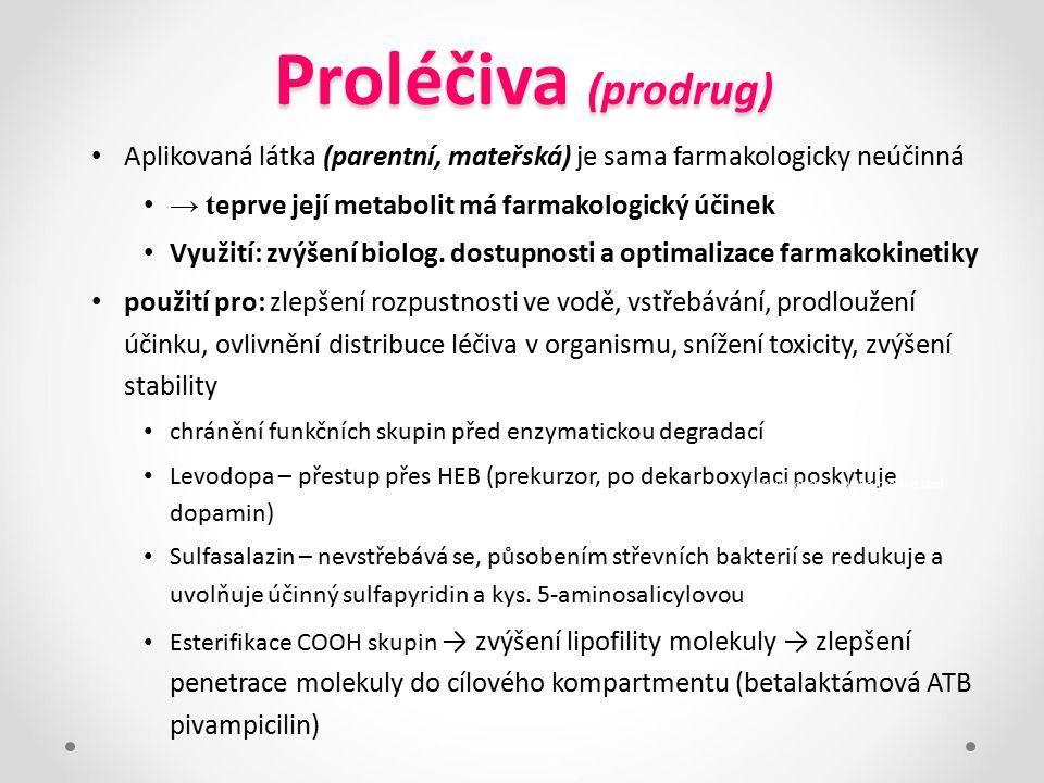 Proléčiva (prodrug) Aplikovaná látka (parentní, mateřská) je sama farmakologicky neúčinná. → teprve její metabolit má farmakologický účinek.