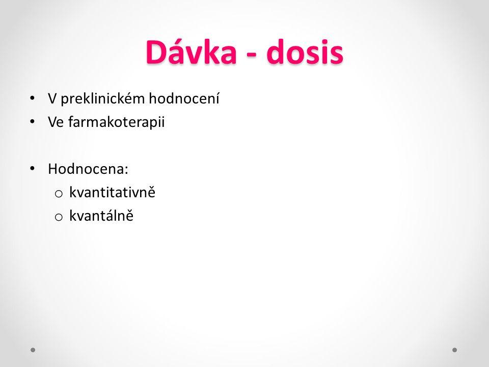 Dávka - dosis V preklinickém hodnocení Ve farmakoterapii Hodnocena:
