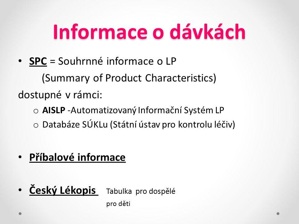Informace o dávkách SPC = Souhrnné informace o LP