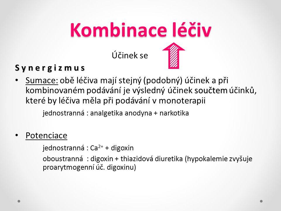 Kombinace léčiv Účinek se S y n e r g i z m u s
