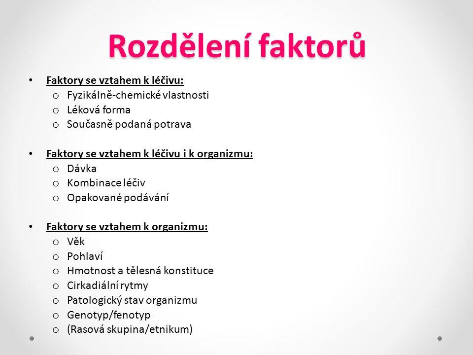 Rozdělení faktorů Faktory se vztahem k léčivu: