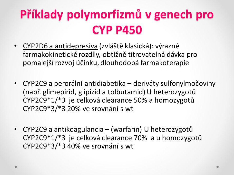Příklady polymorfizmů v genech pro CYP P450