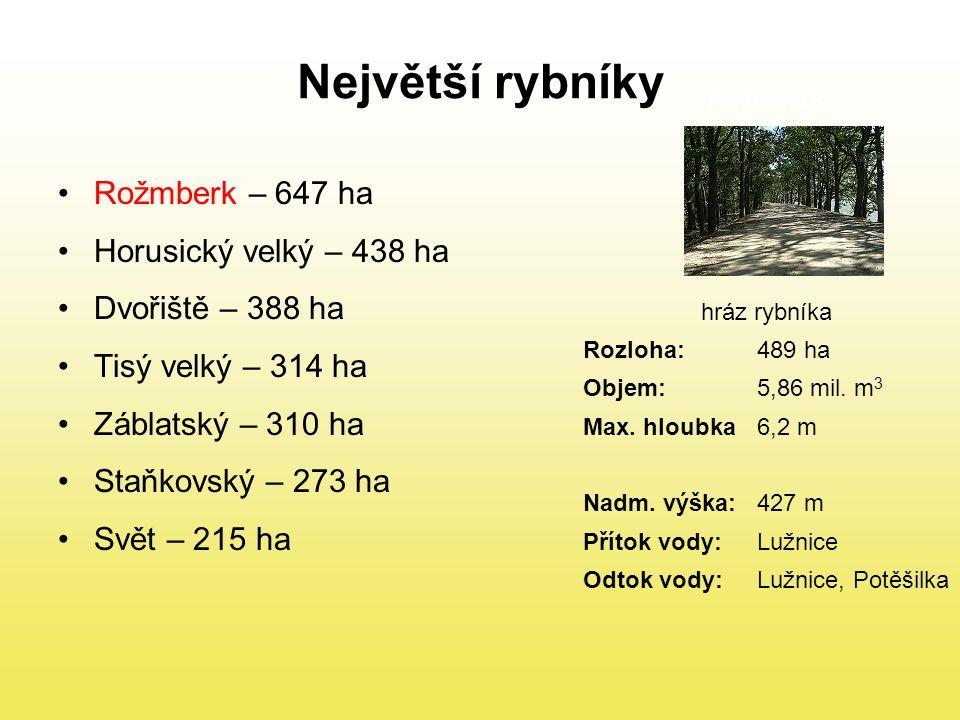 Největší rybníky Rožmberk – 647 ha Horusický velký – 438 ha