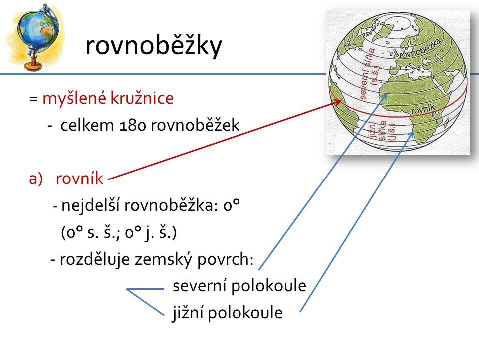 rovnoběžky = myšlené kružnice - celkem 180 rovnoběžek rovník