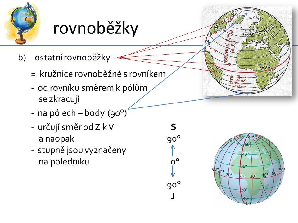 rovnoběžky ostatní rovnoběžky = kružnice rovnoběžné s rovníkem