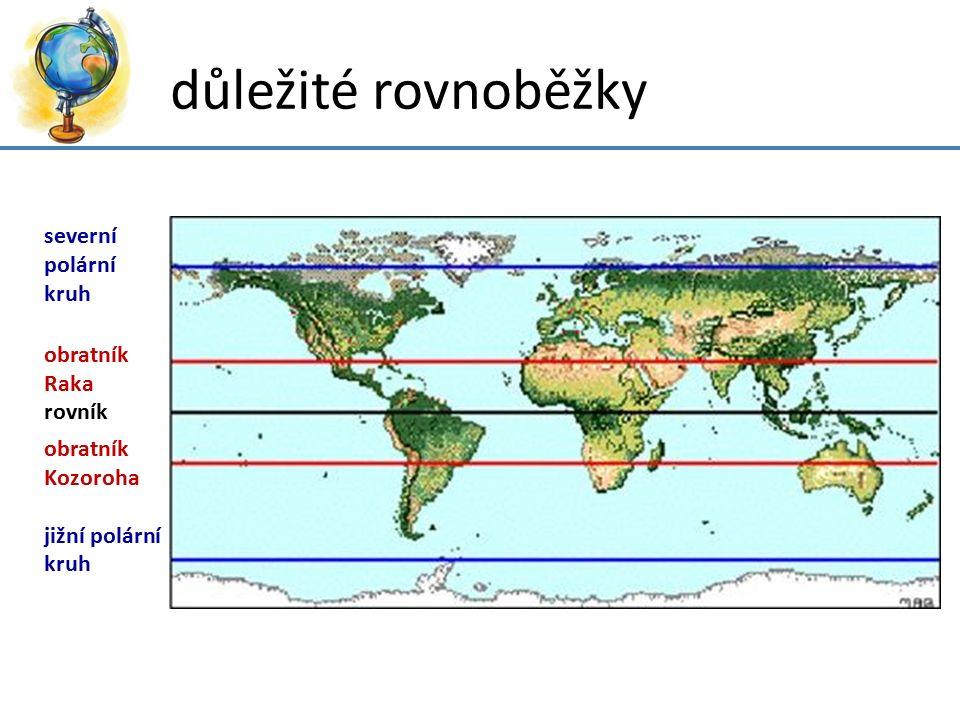 důležité rovnoběžky severní polární kruh obratník Raka rovník
