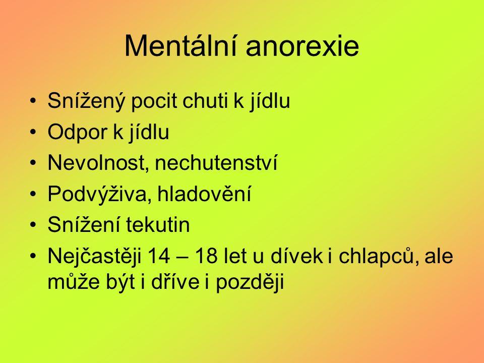 Mentální anorexie Snížený pocit chuti k jídlu Odpor k jídlu