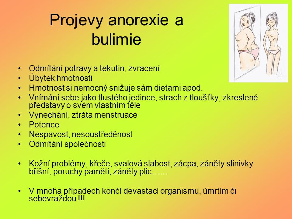 Projevy anorexie a bulimie