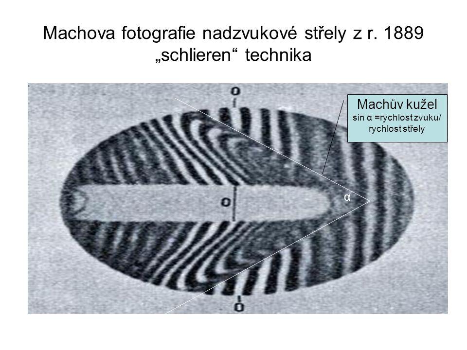 "Machova fotografie nadzvukové střely z r. 1889 ""schlieren technika"