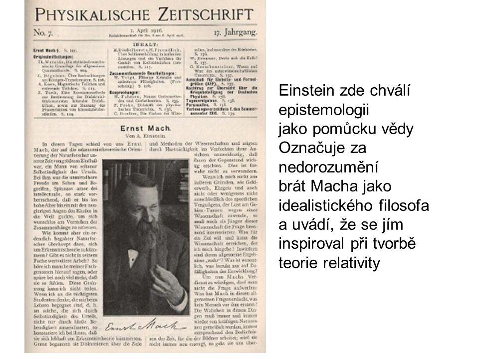 Einstein zde chválí epistemologii