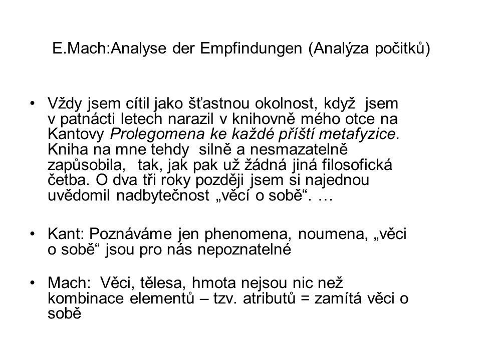 E.Mach:Analyse der Empfindungen (Analýza počitků)