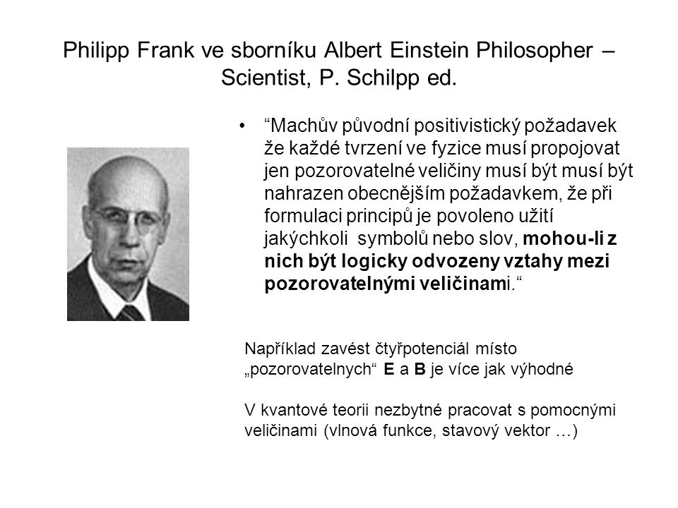 Philipp Frank ve sborníku Albert Einstein Philosopher – Scientist, P