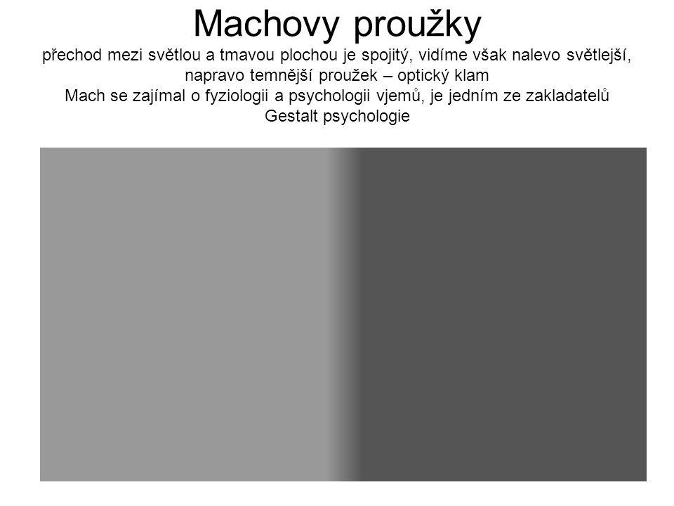 Machovy proužky přechod mezi světlou a tmavou plochou je spojitý, vidíme však nalevo světlejší, napravo temnější proužek – optický klam Mach se zajímal o fyziologii a psychologii vjemů, je jedním ze zakladatelů Gestalt psychologie