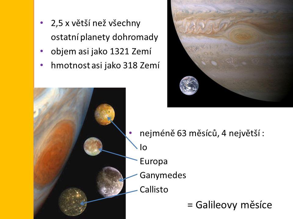 2,5 x větší než všechny ostatní planety dohromady. objem asi jako 1321 Zemí. hmotnost asi jako 318 Zemí.