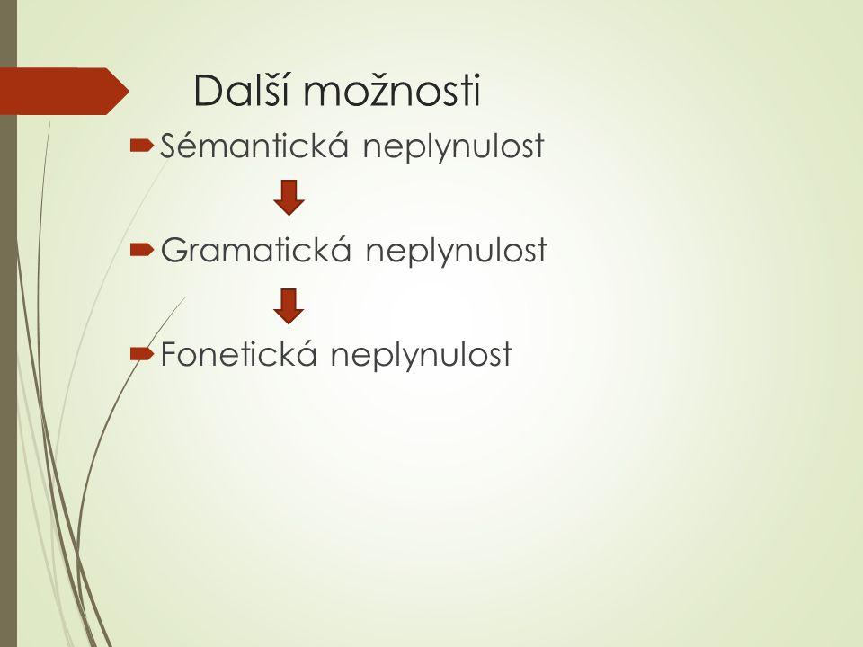 Další možnosti Sémantická neplynulost Gramatická neplynulost