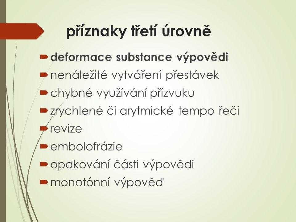 příznaky třetí úrovně deformace substance výpovědi
