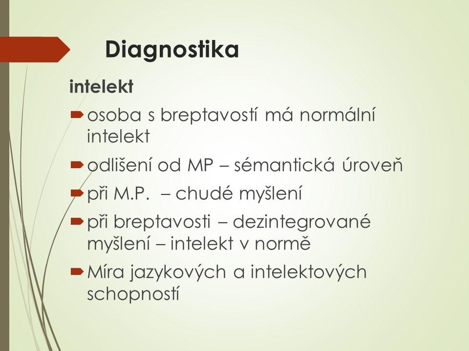 Diagnostika intelekt osoba s breptavostí má normální intelekt