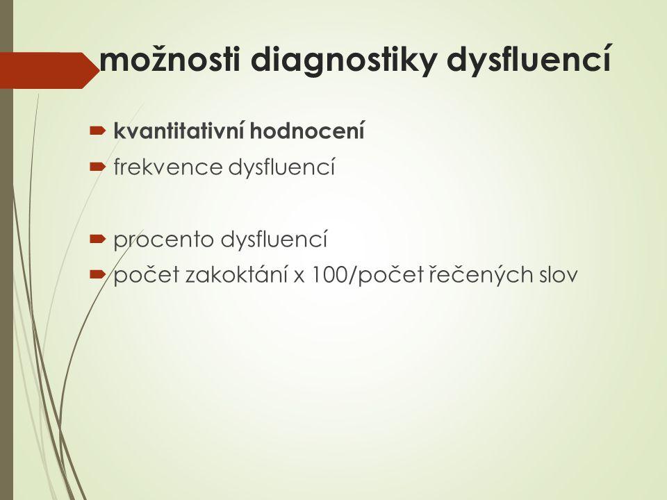 možnosti diagnostiky dysfluencí