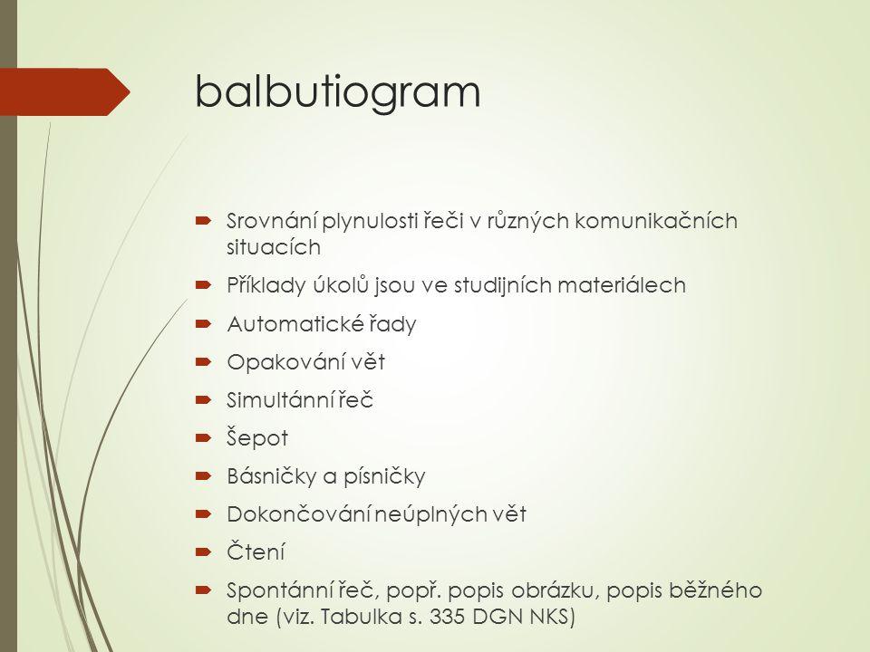 balbutiogram Srovnání plynulosti řeči v různých komunikačních situacích. Příklady úkolů jsou ve studijních materiálech.