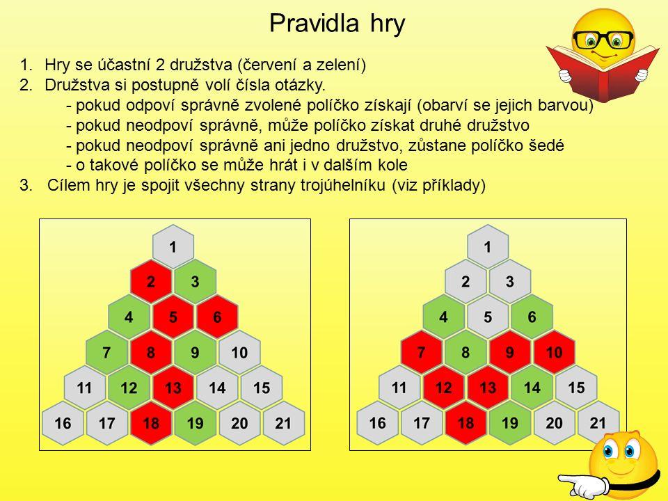 Pravidla hry Hry se účastní 2 družstva (červení a zelení)