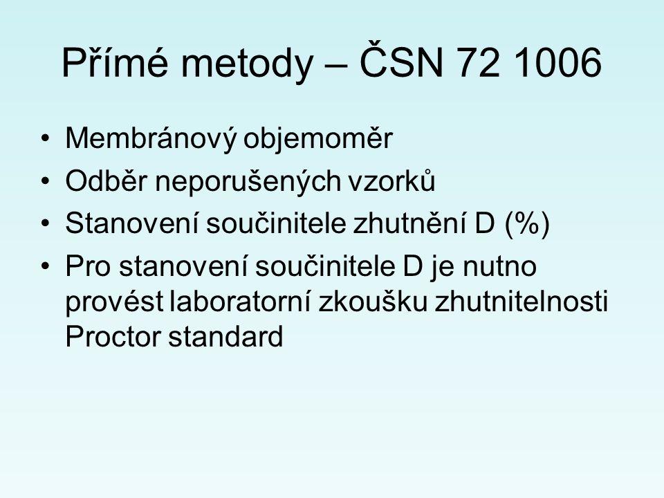 Přímé metody – ČSN 72 1006 Membránový objemoměr