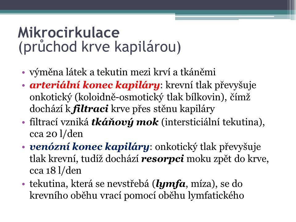 Mikrocirkulace (průchod krve kapilárou)