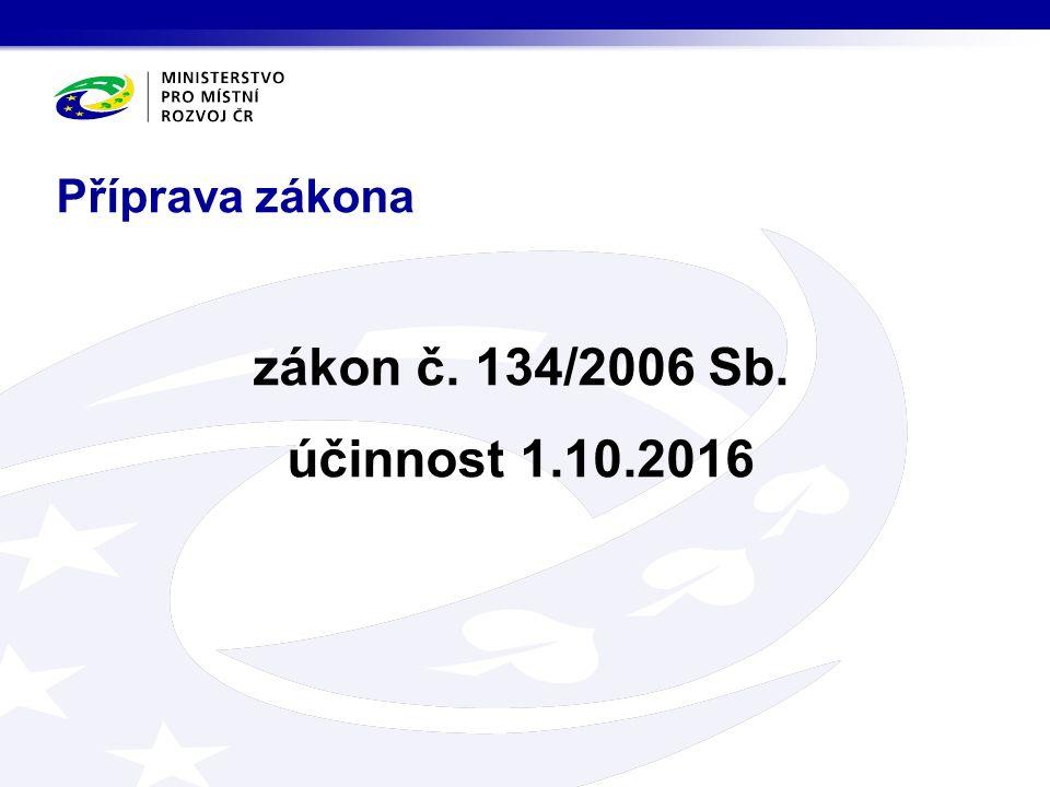 Příprava zákona zákon č. 134/2006 Sb. účinnost 1.10.2016