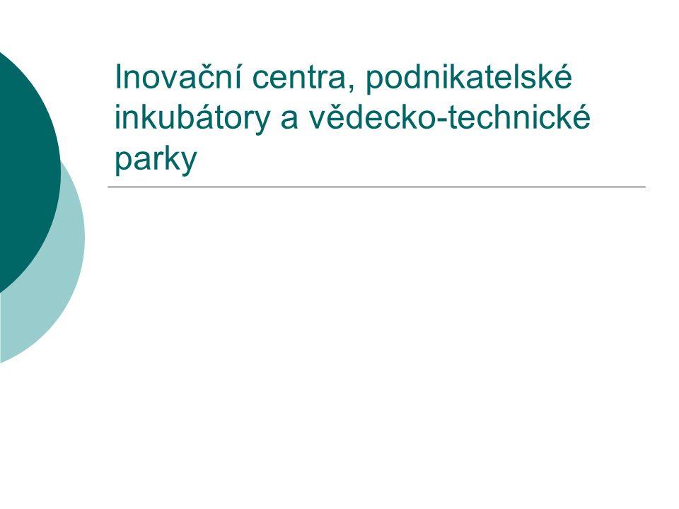 Inovační centra, podnikatelské inkubátory a vědecko-technické parky