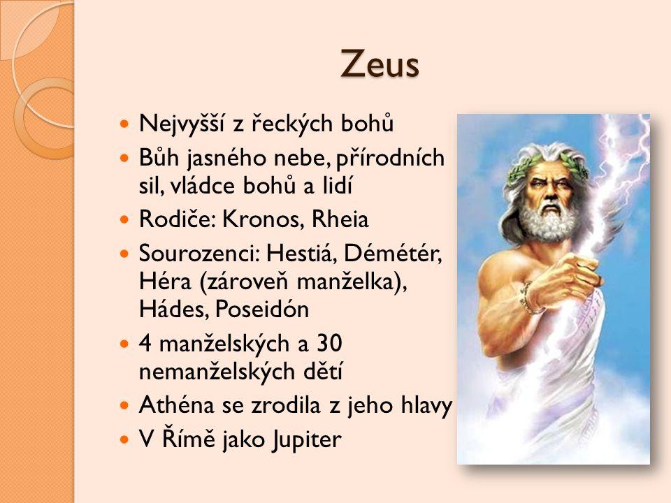 Zeus Nejvyšší z řeckých bohů