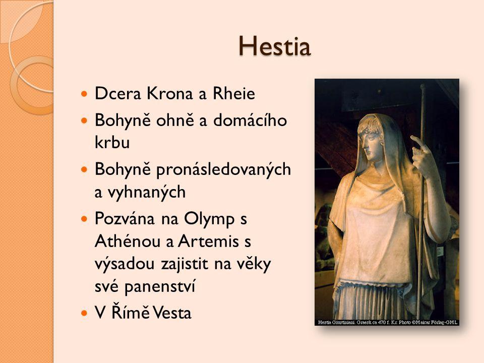 Hestia Dcera Krona a Rheie Bohyně ohně a domácího krbu