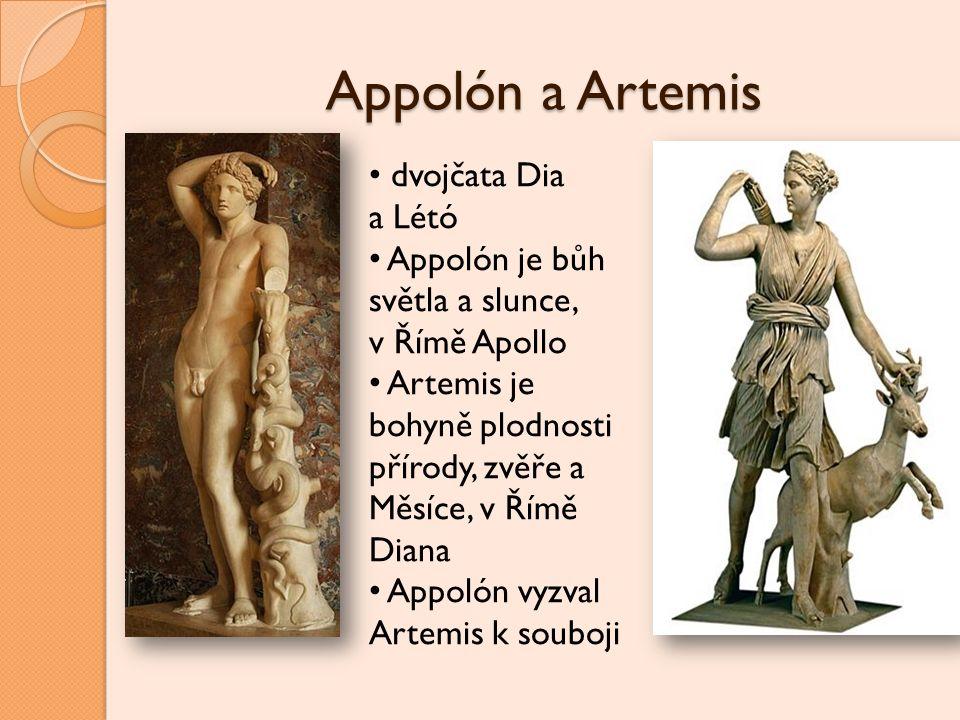 Appolón a Artemis dvojčata Dia a Létó