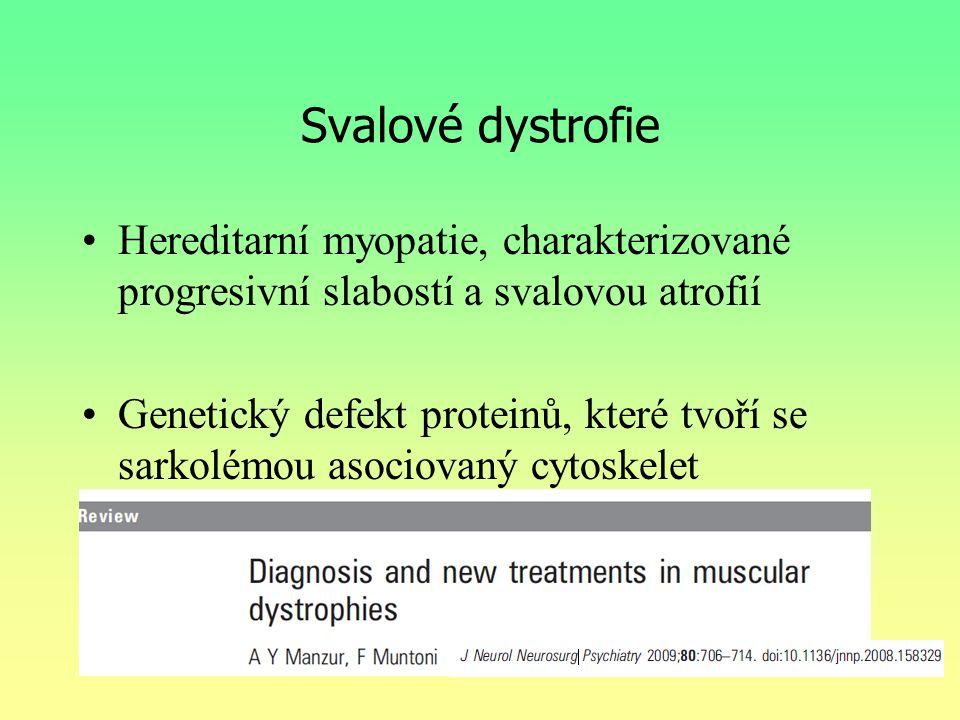 Svalové dystrofie Hereditarní myopatie, charakterizované progresivní slabostí a svalovou atrofií.
