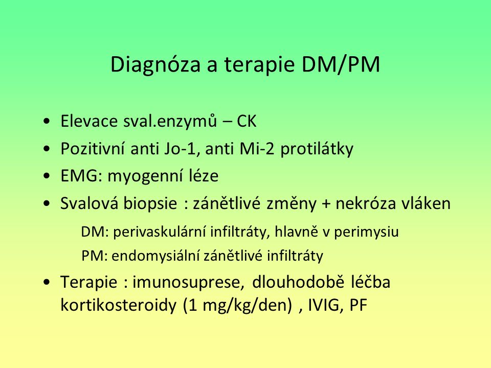 Diagnóza a terapie DM/PM