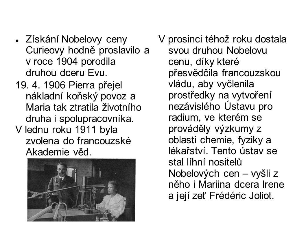 V prosinci téhož roku dostala svou druhou Nobelovu cenu, díky které přesvědčila francouzskou vládu, aby vyčlenila prostředky na vytvoření nezávislého Ústavu pro radium, ve kterém se prováděly výzkumy z oblasti chemie, fyziky a lékařství. Tento ústav se stal líhní nositelů Nobelových cen – vyšli z něho i Mariina dcera Irene a její zeť Frédéric Joliot.
