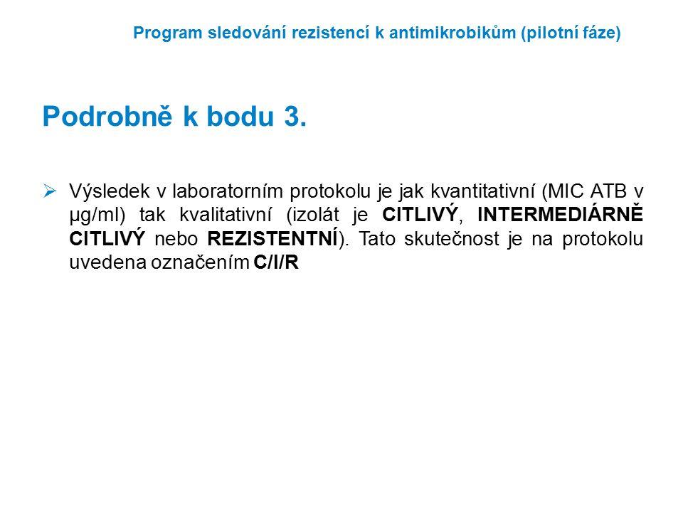 Program sledování rezistencí k antimikrobikům (pilotní fáze)