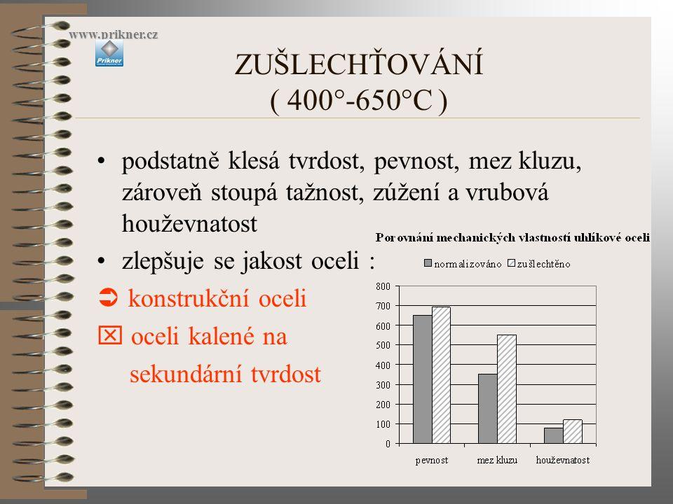www.prikner.cz ZUŠLECHŤOVÁNÍ ( 400°-650°C ) podstatně klesá tvrdost, pevnost, mez kluzu, zároveň stoupá tažnost, zúžení a vrubová houževnatost.