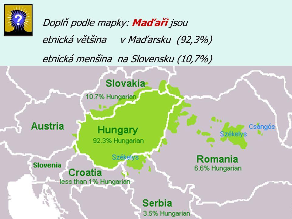 Doplň podle mapky: Maďaři jsou