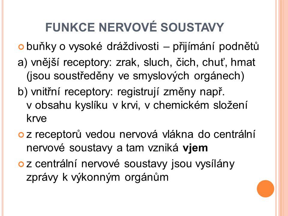 FUNKCE NERVOVÉ SOUSTAVY