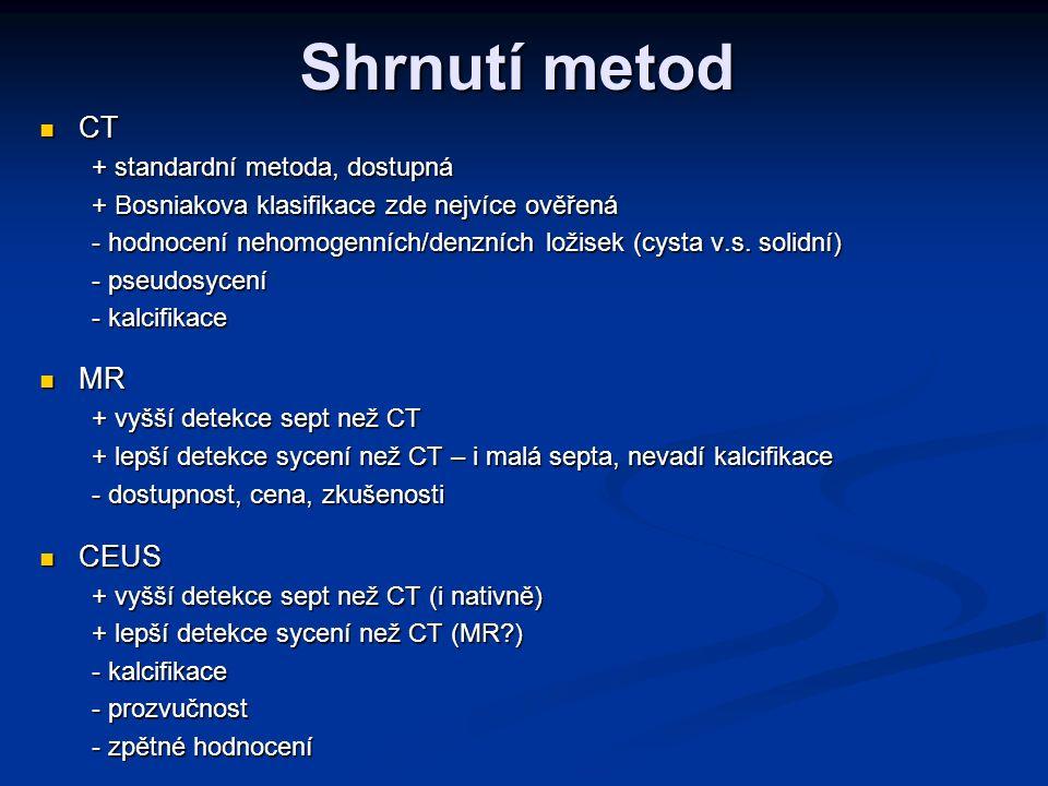Shrnutí metod CT MR CEUS + standardní metoda, dostupná