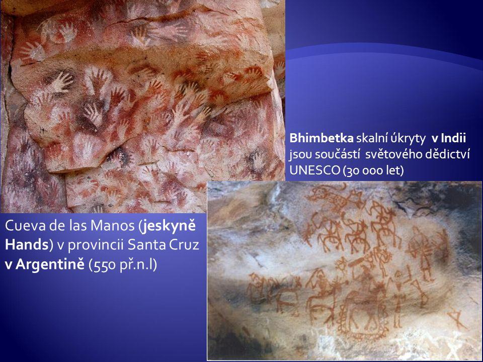 Bhimbetka skalní úkryty v Indii jsou součástí světového dědictví UNESCO (30 000 let)